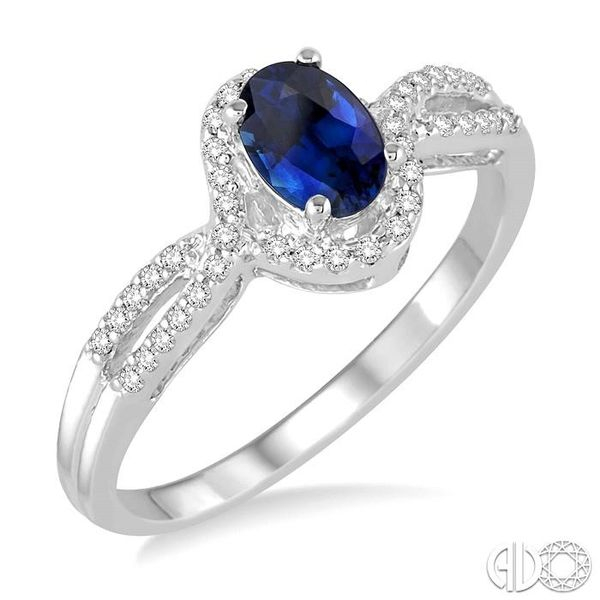 6x4 MM Oval Cut Sapphire and 1/6 Ctw Round Cut Diamond Ring in 10K White Gold Ross Elliott Jewelers Terre Haute, IN