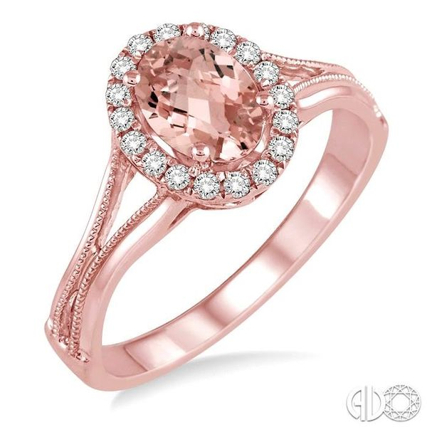 7x5 MM Oval Shape Morganite and 1/6 Ctw Round Cut Diamond Ring in 14K Rose Gold Ross Elliott Jewelers Terre Haute, IN