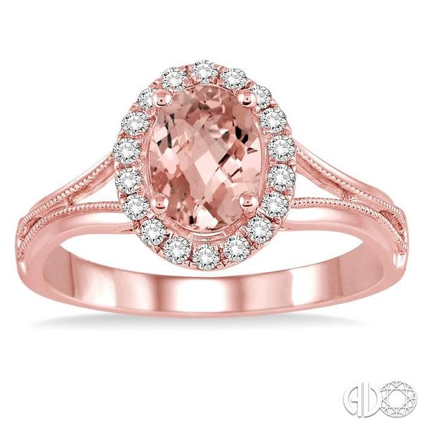 7x5 MM Oval Shape Morganite and 1/6 Ctw Round Cut Diamond Ring in 14K Rose Gold Image 2 Ross Elliott Jewelers Terre Haute, IN