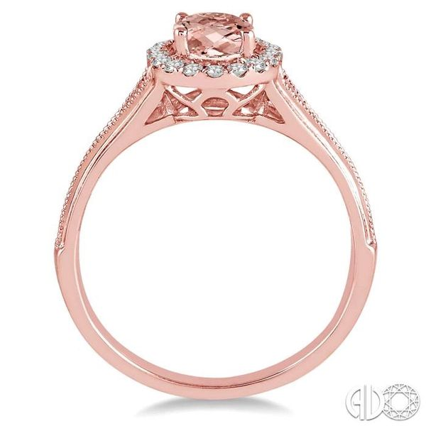 7x5 MM Oval Shape Morganite and 1/6 Ctw Round Cut Diamond Ring in 14K Rose Gold Image 3 Ross Elliott Jewelers Terre Haute, IN