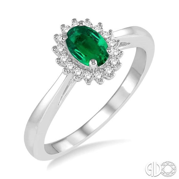 6X4MM Oval Cut Emerald Center and 1/8 Ctw Round Cut Diamond Halo Precious Stone Ring in 10K White Gold Ross Elliott Jewelers Terre Haute, IN