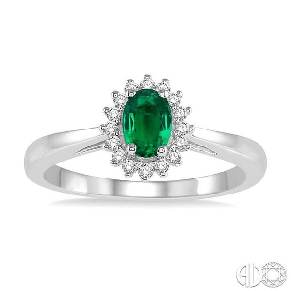 6X4MM Oval Cut Emerald Center and 1/8 Ctw Round Cut Diamond Halo Precious Stone Ring in 10K White Gold Image 2 Ross Elliott Jewelers Terre Haute, IN