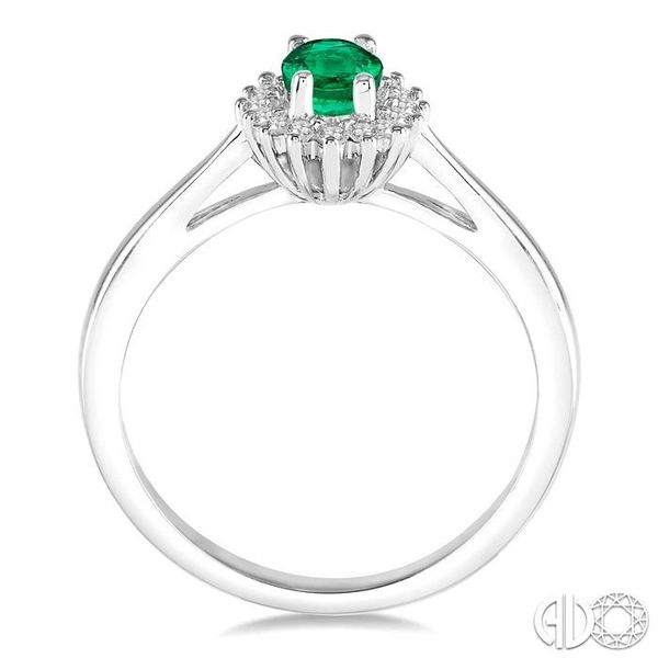 6X4MM Oval Cut Emerald Center and 1/8 Ctw Round Cut Diamond Halo Precious Stone Ring in 10K White Gold Image 3 Ross Elliott Jewelers Terre Haute, IN
