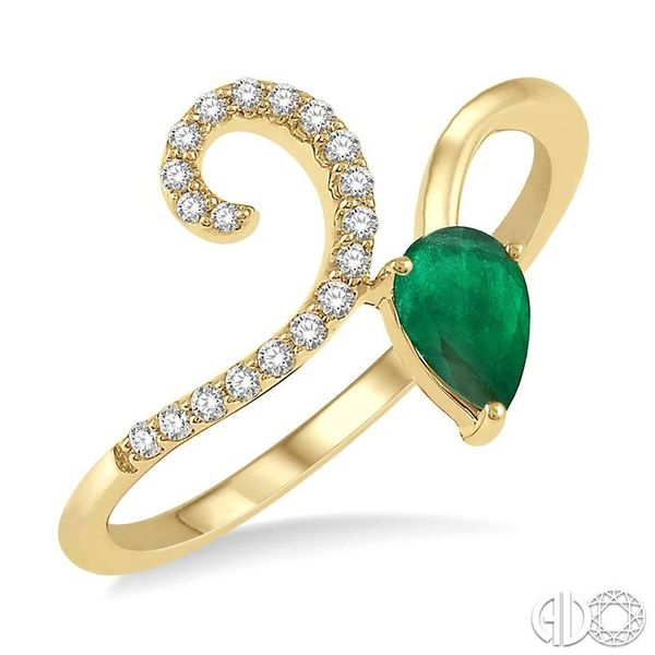 1/10 Ctw Pear Shape 6x4mm Emerald & Round Cut Diamond Precious Ring in 10K Yellow Gold Ross Elliott Jewelers Terre Haute, IN