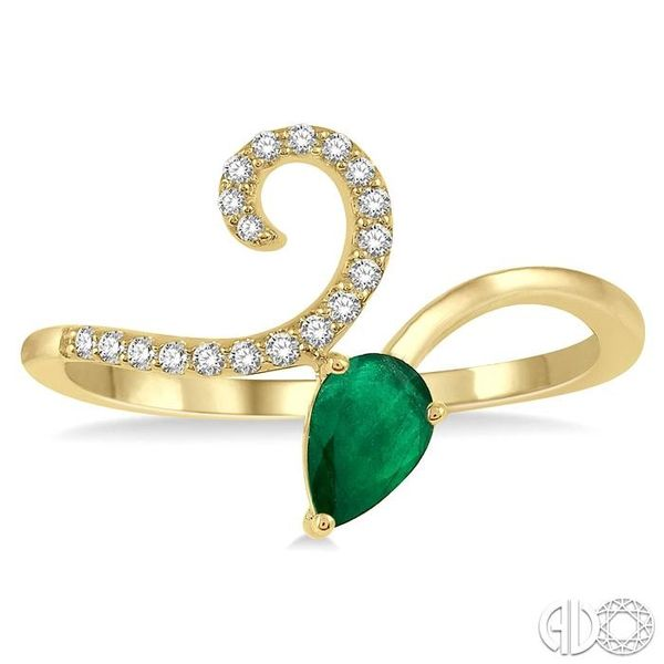 1/10 Ctw Pear Shape 6x4mm Emerald & Round Cut Diamond Precious Ring in 10K Yellow Gold Image 2 Ross Elliott Jewelers Terre Haute, IN