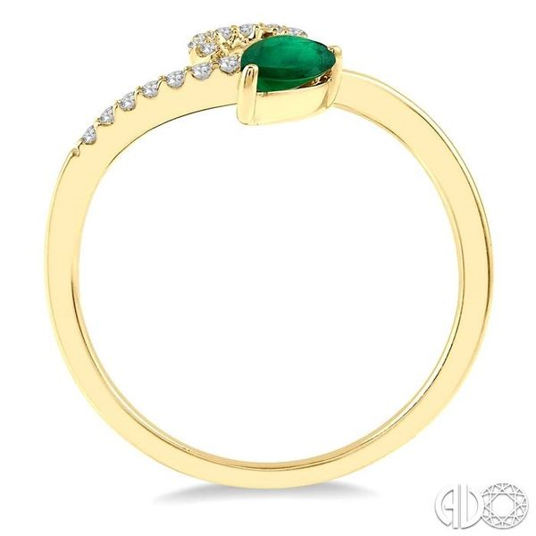 1/10 Ctw Pear Shape 6x4mm Emerald & Round Cut Diamond Precious Ring in 10K Yellow Gold Image 3 Ross Elliott Jewelers Terre Haute, IN