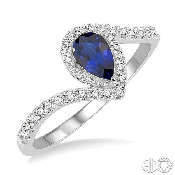 1/5 Ctw Pear Shape 6x4mm Sapphire & Round Cut Diamond Precious Ring in 10K White Gold Ross Elliott Jewelers Terre Haute, IN