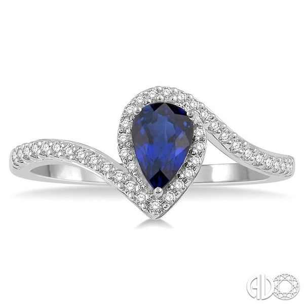 1/5 Ctw Pear Shape 6x4mm Sapphire & Round Cut Diamond Precious Ring in 10K White Gold Image 2 Ross Elliott Jewelers Terre Haute, IN