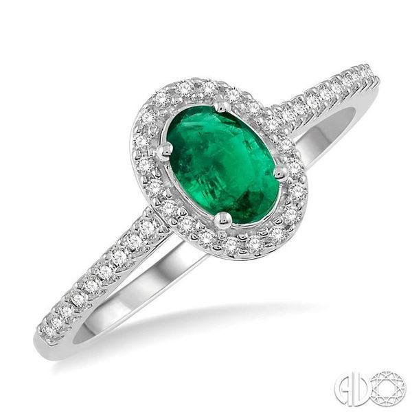 1/5 Ctw Oval Shape 6x4mm Emerald & Round Cut Diamond Precious Ring in 10K White Gold Ross Elliott Jewelers Terre Haute, IN