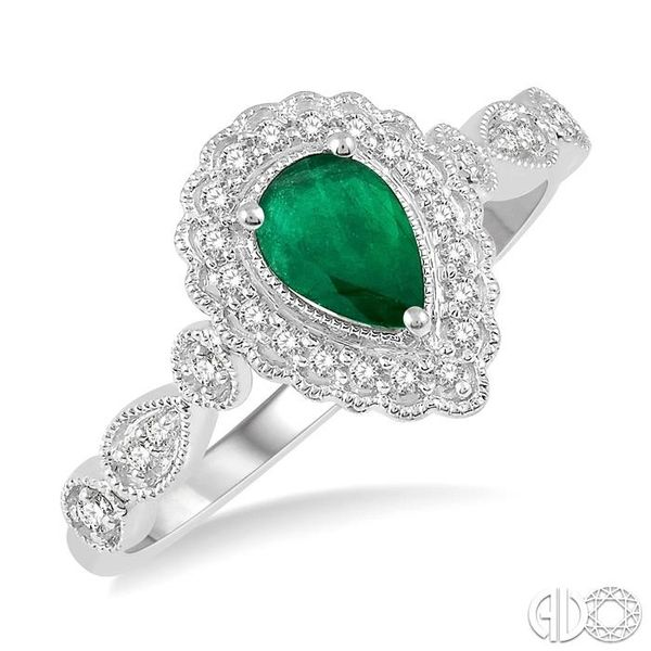 1/6 Ctw Pear Shape 6x4mm Emerald & Round Cut Diamond Precious Ring in 10K White Gold Ross Elliott Jewelers Terre Haute, IN
