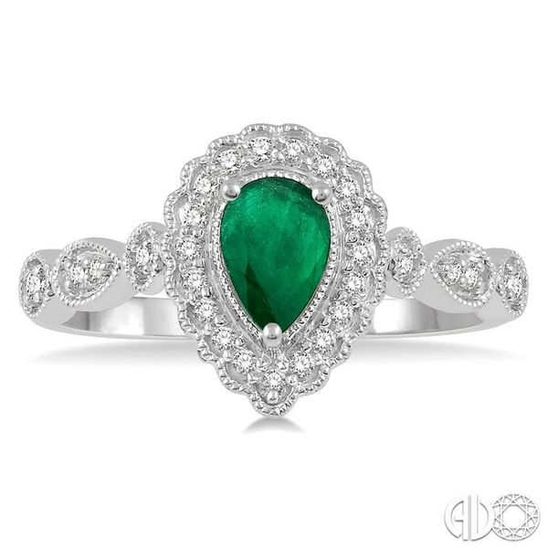 1/6 Ctw Pear Shape 6x4mm Emerald & Round Cut Diamond Precious Ring in 10K White Gold Image 2 Ross Elliott Jewelers Terre Haute, IN