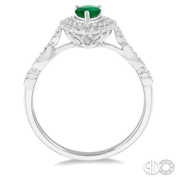 1/6 Ctw Pear Shape 6x4mm Emerald & Round Cut Diamond Precious Ring in 10K White Gold Image 3 Ross Elliott Jewelers Terre Haute, IN