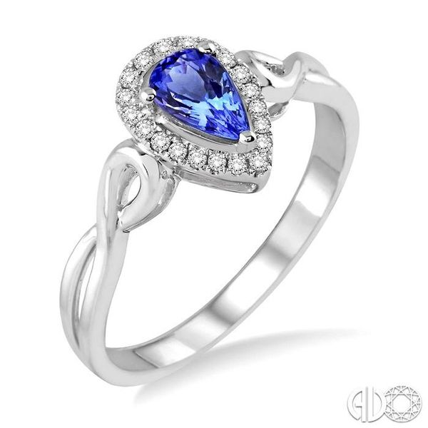 6x4 MM Pear Shape Tanzanite and 1/10 Ctw Round Cut Diamond Ring in 14K White Gold Ross Elliott Jewelers Terre Haute, IN