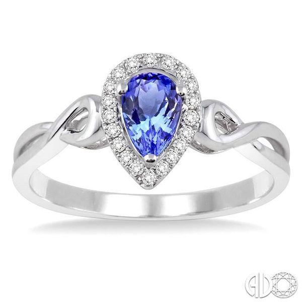 6x4 MM Pear Shape Tanzanite and 1/10 Ctw Round Cut Diamond Ring in 14K White Gold Image 2 Ross Elliott Jewelers Terre Haute, IN