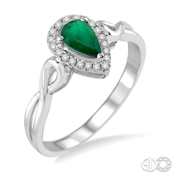 6x4 MM Pear Shape Emerald and 1/10 Ctw Round Cut Diamond Ring in 10K White Gold Ross Elliott Jewelers Terre Haute, IN