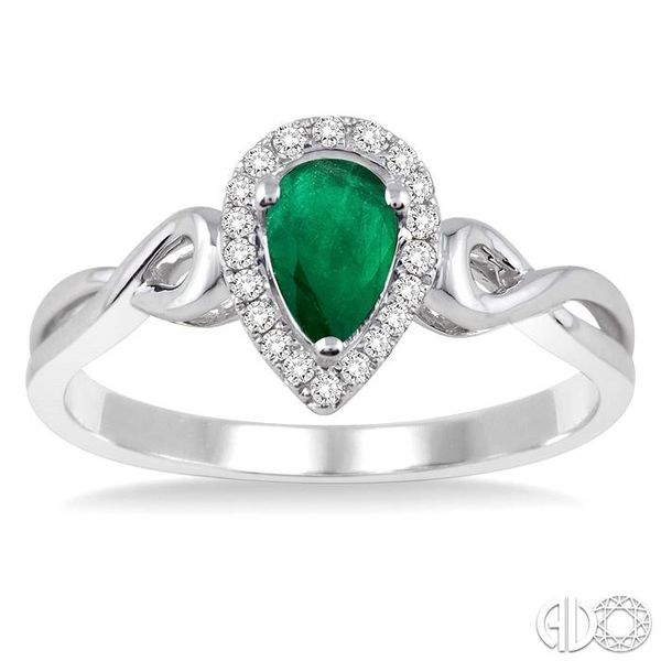 6x4 MM Pear Shape Emerald and 1/10 Ctw Round Cut Diamond Ring in 10K White Gold Image 2 Ross Elliott Jewelers Terre Haute, IN