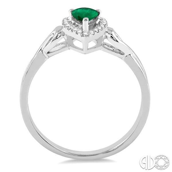 6x4 MM Pear Shape Emerald and 1/10 Ctw Round Cut Diamond Ring in 10K White Gold Image 3 Ross Elliott Jewelers Terre Haute, IN