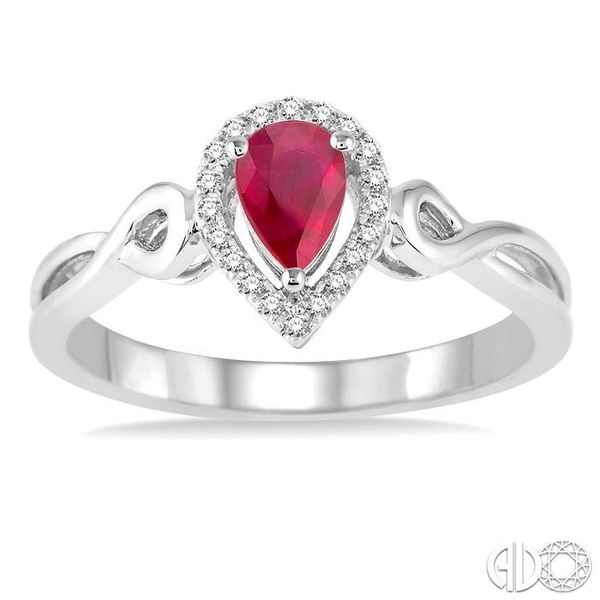 6x4 MM Pear Shape Ruby and 1/10 Ctw Round Cut Diamond Ring in 10K White Gold Image 2 Ross Elliott Jewelers Terre Haute, IN