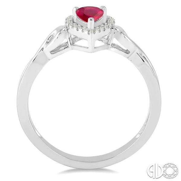 6x4 MM Pear Shape Ruby and 1/10 Ctw Round Cut Diamond Ring in 10K White Gold Image 3 Ross Elliott Jewelers Terre Haute, IN