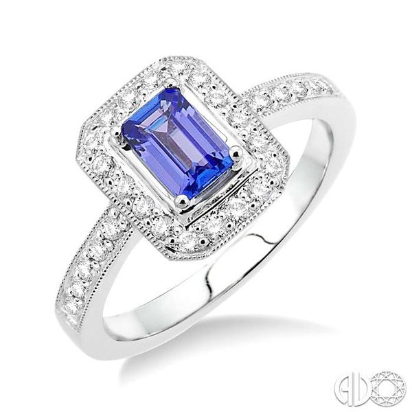6x4MM Octagon Cut Tanzanite and 1/3 Ctw Round Cut Diamond Ring in 18K White Gold Ross Elliott Jewelers Terre Haute, IN
