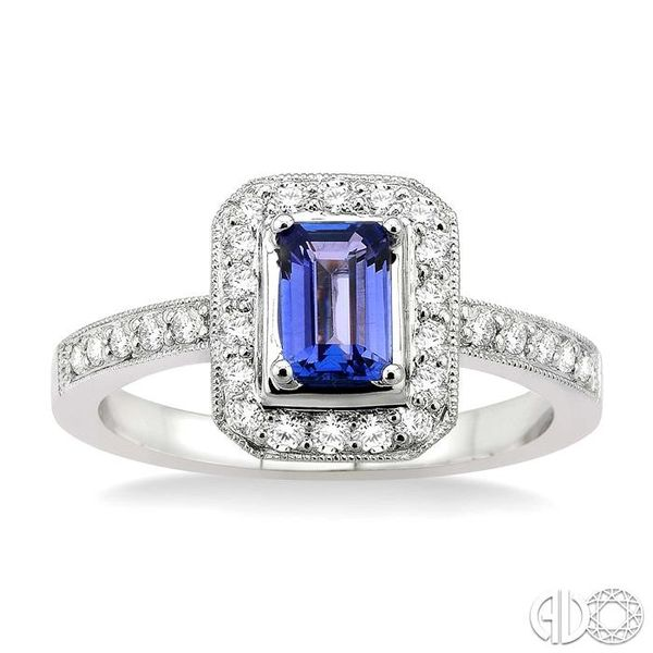 6x4MM Octagon Cut Tanzanite and 1/3 Ctw Round Cut Diamond Ring in 18K White Gold Image 2 Ross Elliott Jewelers Terre Haute, IN