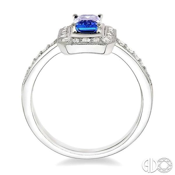6x4MM Octagon Cut Tanzanite and 1/3 Ctw Round Cut Diamond Ring in 18K White Gold Image 3 Ross Elliott Jewelers Terre Haute, IN