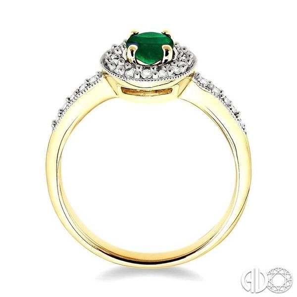 6x4mm Oval Cut Emerald and 1/4 Ctw Round Cut Diamond Ring in 14K Yellow Gold Image 3 Ross Elliott Jewelers Terre Haute, IN
