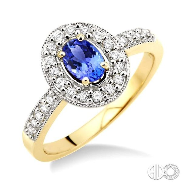 6x4mm Oval Cut Tanzanite and 1/4 Ctw Round Cut Diamond Ring in 14K Yellow Gold Ross Elliott Jewelers Terre Haute, IN