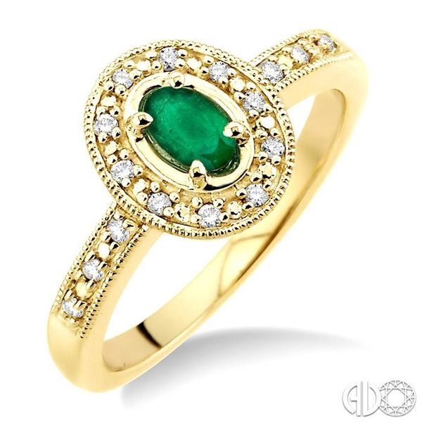 5x3mm Oval Shape Emerald and 1/10 Ctw Single Cut Diamond Ring in 14K Yellow Gold. Ross Elliott Jewelers Terre Haute, IN