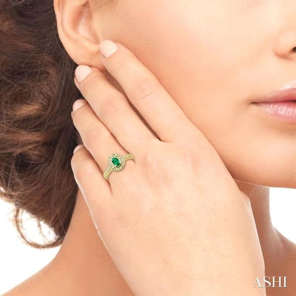 5x3mm Oval Shape Emerald and 1/10 Ctw Single Cut Diamond Ring in 14K Yellow Gold. Image 4 Ross Elliott Jewelers Terre Haute, IN