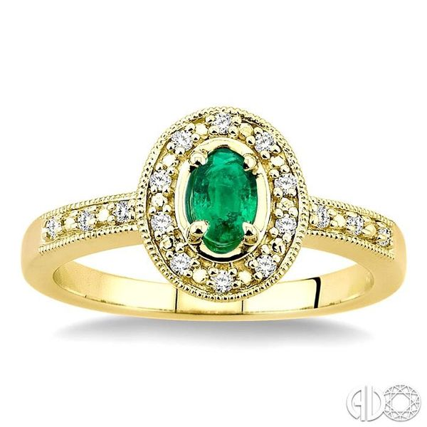 5x3mm Oval Shape Emerald and 1/10 Ctw Single Cut Diamond Ring in 14K Yellow Gold. Image 2 Ross Elliott Jewelers Terre Haute, IN