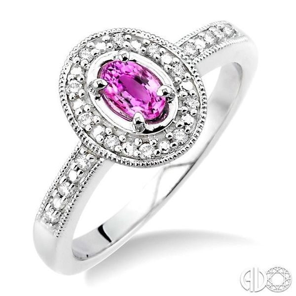 5x3mm oval cut Pink Sapphire and 1/10 Ctw Single Cut Diamond Ring in 14K White Gold. Ross Elliott Jewelers Terre Haute, IN
