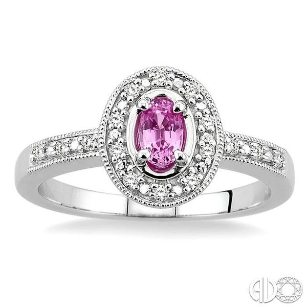 5x3mm oval cut Pink Sapphire and 1/10 Ctw Single Cut Diamond Ring in 14K White Gold. Image 2 Ross Elliott Jewelers Terre Haute, IN