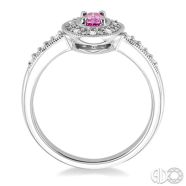 5x3mm oval cut Pink Sapphire and 1/10 Ctw Single Cut Diamond Ring in 14K White Gold. Image 3 Ross Elliott Jewelers Terre Haute, IN