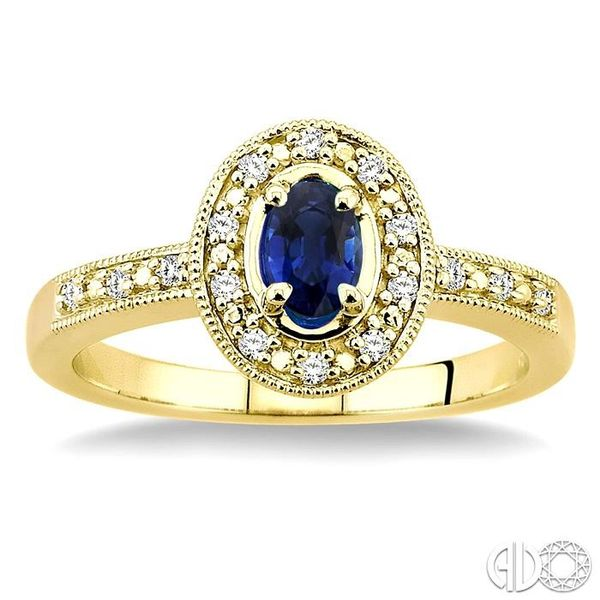 5x3mm oval cut Sapphire and 1/10 Ctw Single Cut Diamond Ring in 14K Yellow Gold. Image 2 Ross Elliott Jewelers Terre Haute, IN