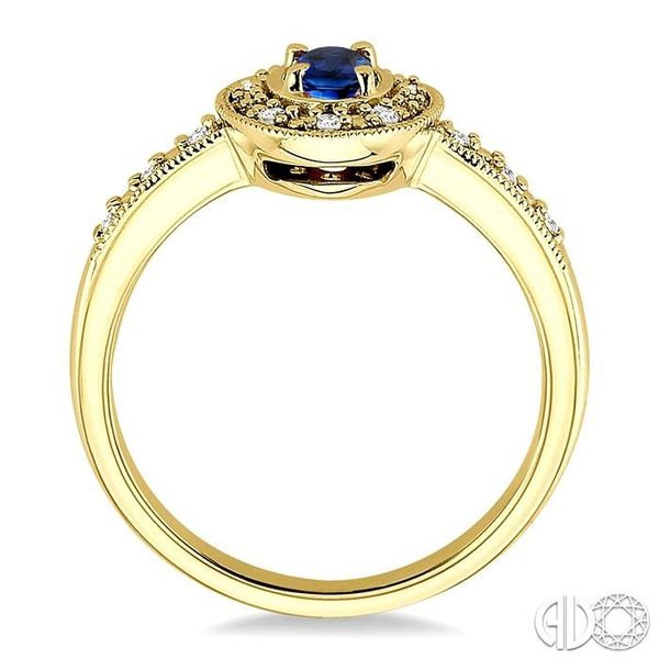 5x3mm oval cut Sapphire and 1/10 Ctw Single Cut Diamond Ring in 14K Yellow Gold. Image 3 Ross Elliott Jewelers Terre Haute, IN