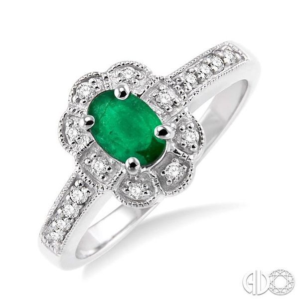 6x4mm Oval Cut Emerald and 1/6 Ctw Single Cut Diamond Ring in 10K White Gold Ross Elliott Jewelers Terre Haute, IN