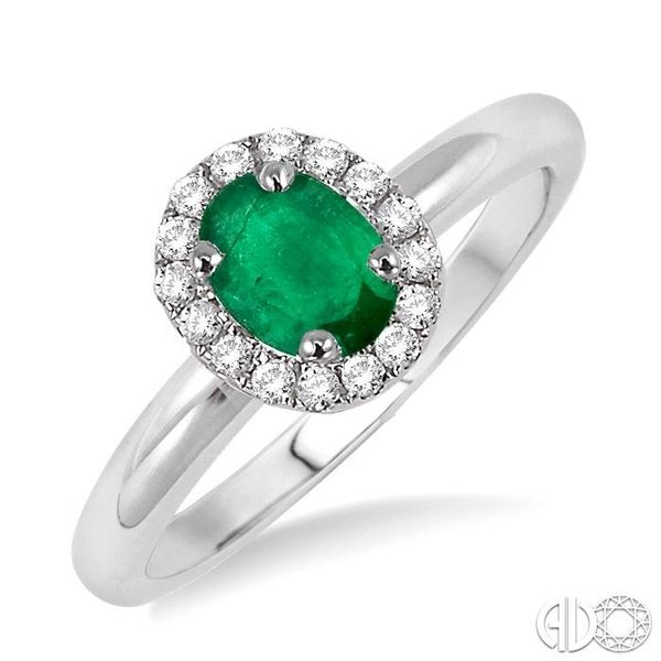 6x4 MM Oval Shape Emerald and 1/6 Ctw Round Cut Diamond Ring in 14K White Gold Ross Elliott Jewelers Terre Haute, IN