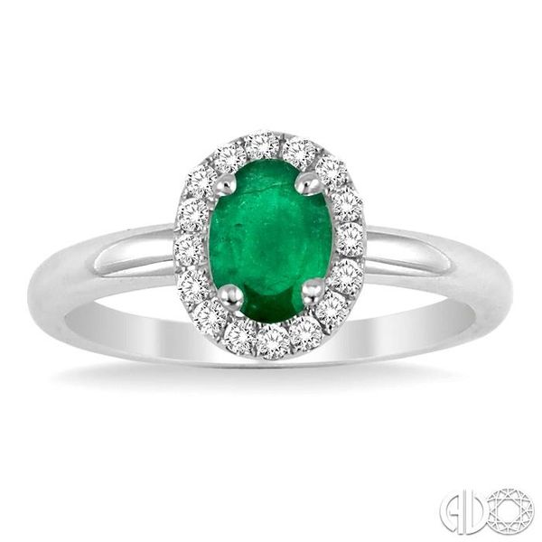 6x4 MM Oval Shape Emerald and 1/6 Ctw Round Cut Diamond Ring in 14K White Gold Image 2 Ross Elliott Jewelers Terre Haute, IN