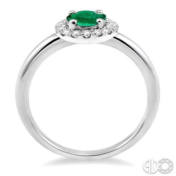 6x4 MM Oval Shape Emerald and 1/6 Ctw Round Cut Diamond Ring in 14K White Gold Image 3 Ross Elliott Jewelers Terre Haute, IN