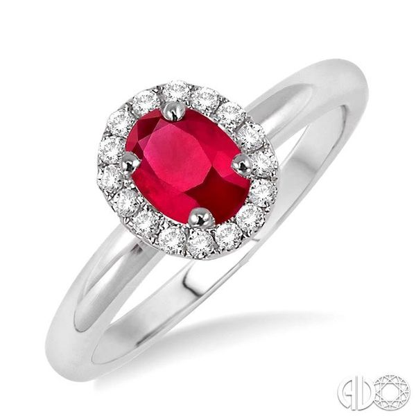 6x4 MM Oval Shape Ruby and 1/6 Ctw Round Cut Diamond Ring in 14K White Gold Ross Elliott Jewelers Terre Haute, IN
