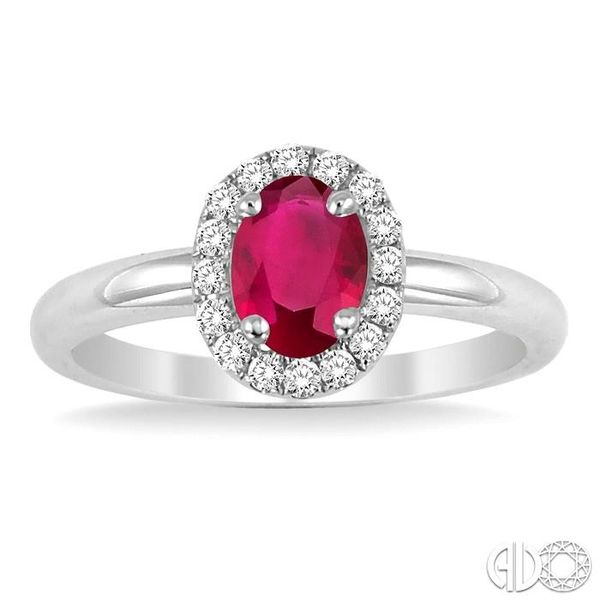 6x4 MM Oval Shape Ruby and 1/6 Ctw Round Cut Diamond Ring in 14K White Gold Image 2 Ross Elliott Jewelers Terre Haute, IN
