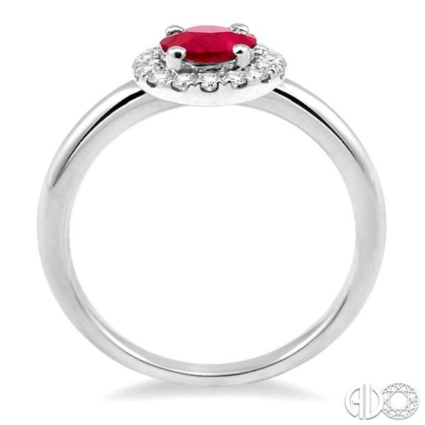 6x4 MM Oval Shape Ruby and 1/6 Ctw Round Cut Diamond Ring in 14K White Gold Image 3 Ross Elliott Jewelers Terre Haute, IN