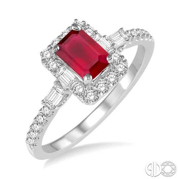 6x4 MM Octagon Cut Ruby and 1/2 Ctw Round Cut Diamond Ring in 14K White Gold Ross Elliott Jewelers Terre Haute, IN