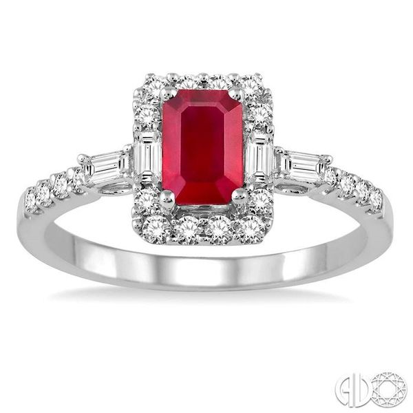 6x4 MM Octagon Cut Ruby and 1/2 Ctw Round Cut Diamond Ring in 14K White Gold Image 2 Ross Elliott Jewelers Terre Haute, IN