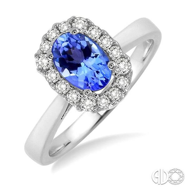 6x4 MM Oval Cut Tanzanite and 1/6 Ctw Round Cut Diamond Ring in 14K White Gold Ross Elliott Jewelers Terre Haute, IN