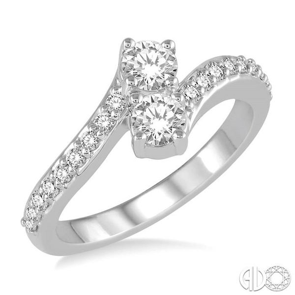 1/2 Ctw Cross Over Shank Round Cut Diamond 2Stone Ring in 14K White Gold Ross Elliott Jewelers Terre Haute, IN