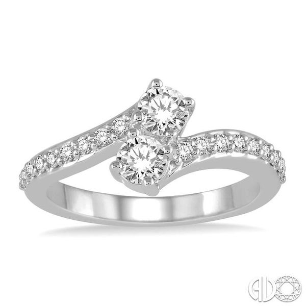 1/2 Ctw Cross Over Shank Round Cut Diamond 2Stone Ring in 14K White Gold Image 2 Ross Elliott Jewelers Terre Haute, IN