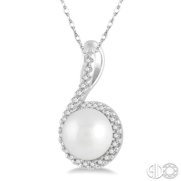 1/10 Ctw Round 7x7mm Pearl Center Round Cut Diamond Pendant in 10K White Gold Image 2 Ross Elliott Jewelers Terre Haute, IN