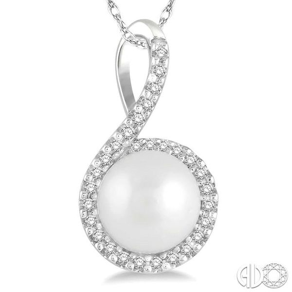 1/10 Ctw Round 7x7mm Pearl Center Round Cut Diamond Pendant in 10K White Gold Image 3 Ross Elliott Jewelers Terre Haute, IN